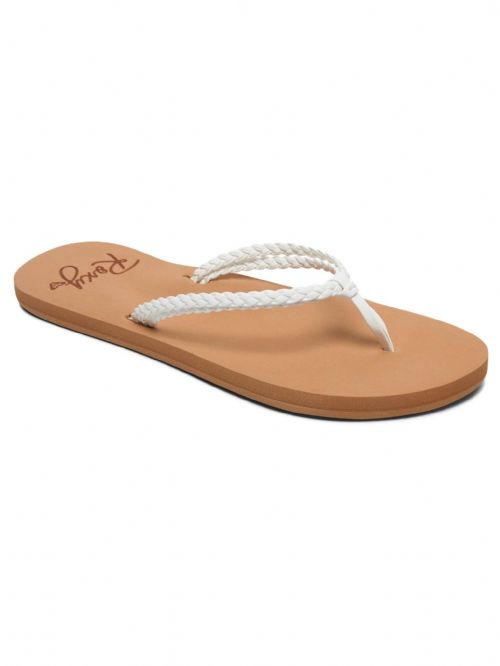 ROXY WOMENS FLIP FLOPS.NEW COSTAS WHITE STRAPPY FAUX LEATHER THONGS SANDALS 9S 3